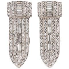 ART DECO c.1930's 2 Piece Palladium Silver Diamond Crystal Dress Fur Clip Set