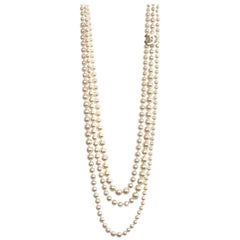 Chanel Faux Pearl Three Strand CC Necklace, 2014