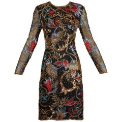 1990s Vintage Black Silk Metallic Gold, Red, Blue Beaded + Sequin Sheath Dress