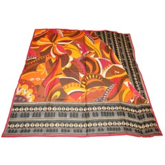 Gottex Huge Vivid Multi-color bold Abstract Print Scarf