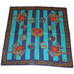 "Ralph Lauren Navy Border ""World of Polo & Crowns"" Silk Scarf"