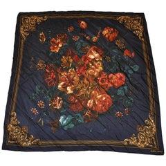 "Albert Nipon Midnight Blue ""Floral Arrangement"" Silk Scarf"