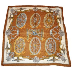 "Shades of Warm Browns and Ivory ""Wagon Wheels"" Silk Jacquard Scarf"