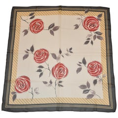 "Beige & White with Black Border Silk Chiffon ""Red Floral"" Scarf"