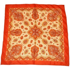 Vivid Multi Shades of Tangerine & Orange Hues Bold Palsey Scarf
