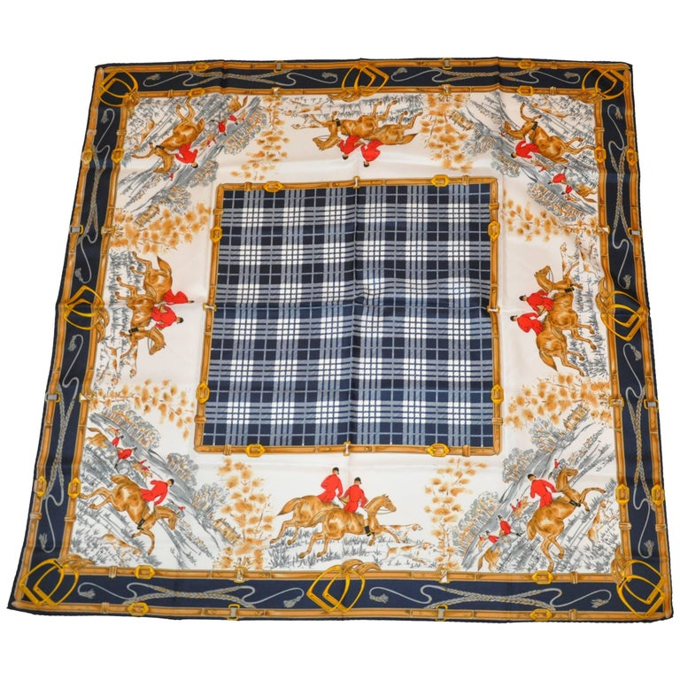 """""""Fox Hunting Expedition"""" Navy & White Plaid Center Hand-Rolled Silk Scarf"""