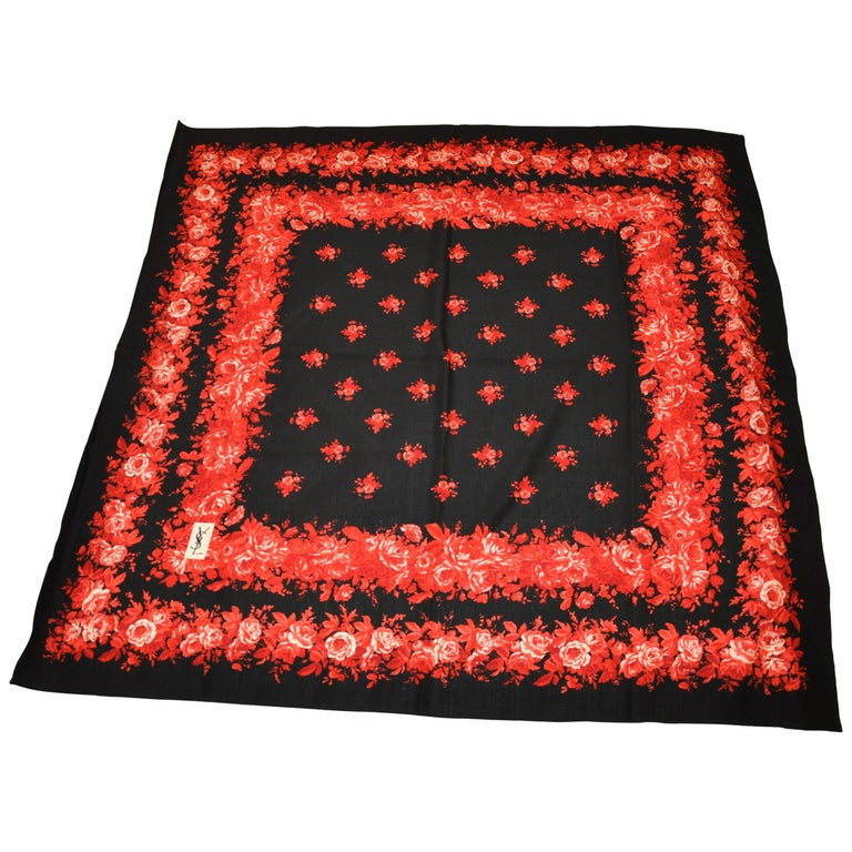 Yves Saint Laurent X-Huge Wool Challis with Signature Red & White Roses Scarf