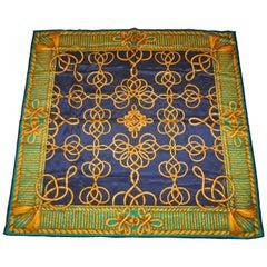"""Anne Klein """"Decorative Golden Cord & Tassel"""" with Navy & Green Silk Scarf"""