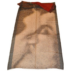 "Jean Paul Gaultier Huge Wool Challis & Silk ""Lovers' Kiss"" with Fringe Scarf"