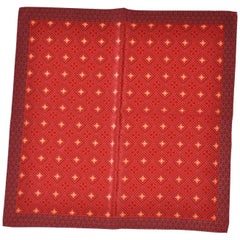 Burgundy with Multiple Reds Center Silk Handkerchief
