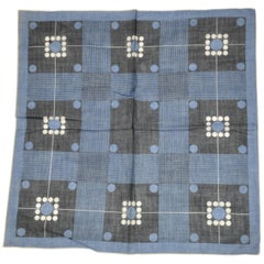"""Navy & Black """"Stripes & Dots"""" Swiss Cotton Handkerchief with Hand-Rolled Edges"""