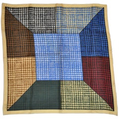 "Multi-Color ""Houndstooth"" with beige border Hand-Rolled Silk Handkerchief"