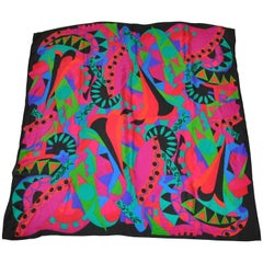Black with Bold Multi-Color Abstract and Circular Silk Scarf