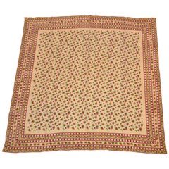 "Beige ""Multi Stripes & Multi Borders"" with Multi Floral Center Silk Scarf"