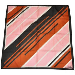 Jaques Piaget Coco Brown Border with Multi-Color Multi-Stripe Scarf