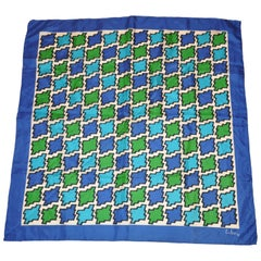 Echo for Peck & Peck Silk Scarf with Blue Border and Blue and Green Center