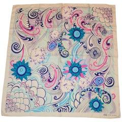 Anne Klein Multicolor Floral Swirls Silk Scarf
