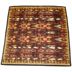 Nicole Miller Shades of Warm Brown Autumn Snake Pattern Silk Scarf