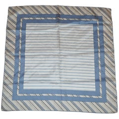 Blue and Black Stripes and Dots Border with Multi Blues Stripe Center Silk Scarf