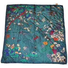 Liberty Forest Green Forest of Birds Silk Jacquard Scarf
