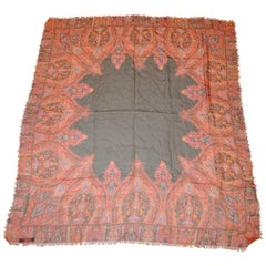 Ralph Lauren Fringed Multi-Color Paisley Bordered Silk Scarf with Black Center