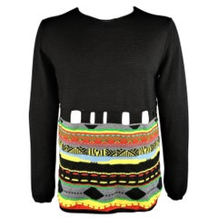 Men's COMME des GARCONS Size XL Black Wool Blend Multi-color Stripe Cutout Pullo