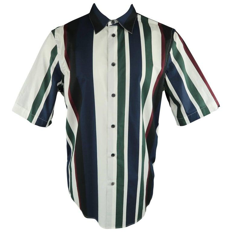 Men's MARNI Size L White Green Burgundy & Navy Stripe Cotton Short Sleeve Shirt