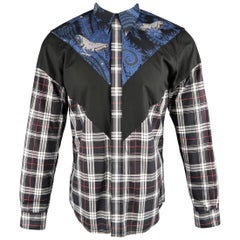 Men's GIVENCHY Size M Black Blue & Red Plaid & Paisley Color Block Shirt