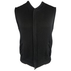 Men's Vintage YOHJI YAMAMOTO L Black Knitted Cotton Blend Zip Vest