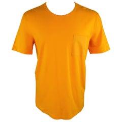Men's  MAISON MARTIN MARGIELA Size M Citrus Orange Cotton Pocket T-shirt