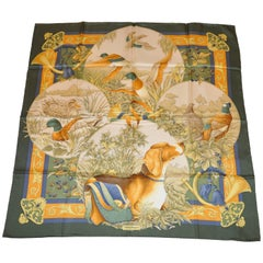 Ferragamo Hound and Collection of Fowls Silk Jacquard Scarf