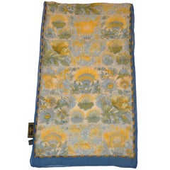 Fendi Collection of Floral Shades of Olive and Green Silk Chiffon Scarf