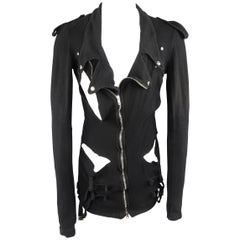 Men's  UNDERCOVER S Black Denim Asymmetrical Shredded Biker Jacket