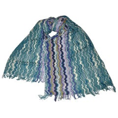 Missoni Signature Multicolor Zig-Zag Scarf with Fringe