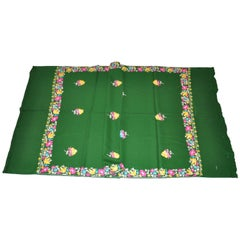 Large Green Wool Challis Hand-Embroidered Multicolor Floral Scarf