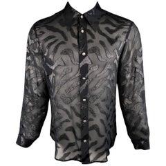 Men's VERSUS by GIANNI VERSACE Size S Black Tiger Print Silk Blend Burnout Shirt