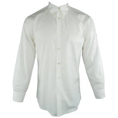 Men's ALEXANDER MCQUEEN Size Small White Solid Cotton Long Sleeve Rolled Cuff Sh