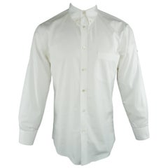 Men's ALEXANDER MCQUEEN Size S White Solid Cotton Long Sleeve Rolled Cuff Shirt