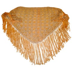 Large Gilded Gold Hand-Knotted Ribbon Macrame with Fringe Scarf