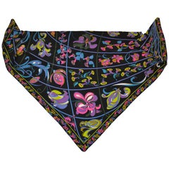 Emilio Pucci Large Signature Triangle Bold Whimsical Floral Silk Scarf