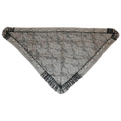 "Black Swiss Lace ""Widow"" with Pleated Borders"" Scarf"