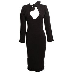 Romeo Gigli Charcoal Wool Jersey Body Con Sheath Dress