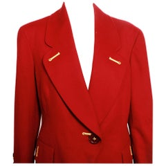 Gianfranco Ferre Rust Wool Cashmere Blazer With Gold Embellishment