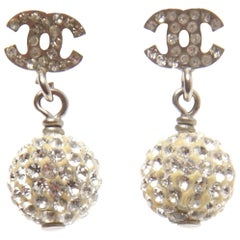 Chanel Encrusted CC Earrings with Bauble