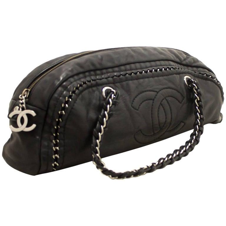 Chanel Luxury Line Chain Black Lambskin Leather Silver handbag
