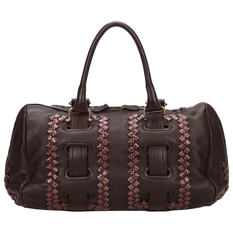 Bottega Veneta Dark Brown Leather Shoulder Bag
