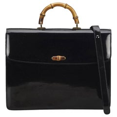 Gucci Black Bamboo Leather Business Bag