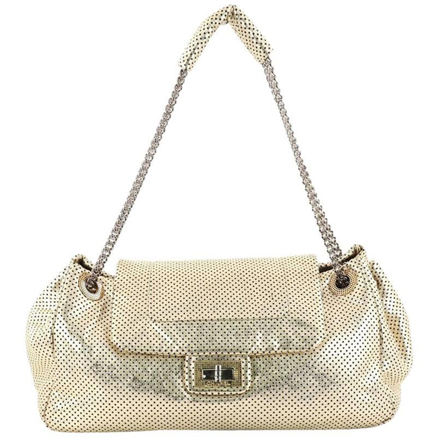 703212fdf896 Chanel Drill Accordion Flap Bag Perforated Leather Large at 1stdibs