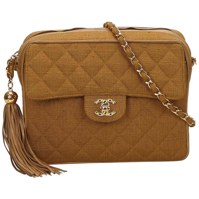 Chanel Brown Matelasse Hemp Tassel Chain Bag For