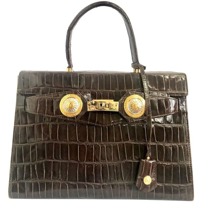 Vintage Gianni Versace dark brown croc embossed leather Kelly style bag.